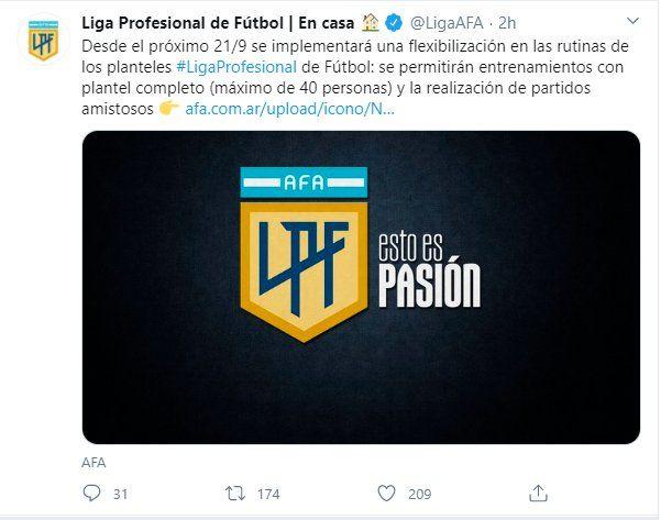 A través de la cuenta Twitter la AFA anunció el regresó del fútbol