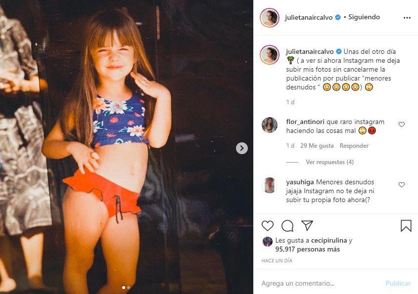 Instagram censuró esta foto de la actriz Julieta Nahir Calvo