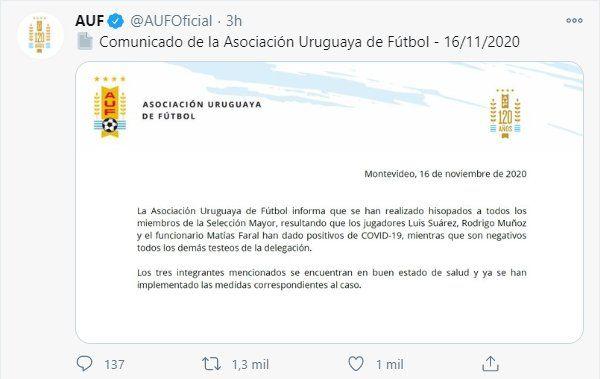 A través de su cuenta en Twitter la AUF comunicó que Luis Suárez tiene coronavirus
