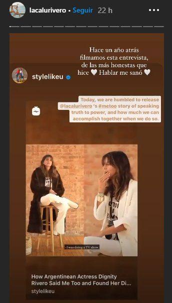La actriz Calu Rivero compartió la entrevista que le realizaron hace un año donde contó el acoso que sufrió por parte de Juan Darthés