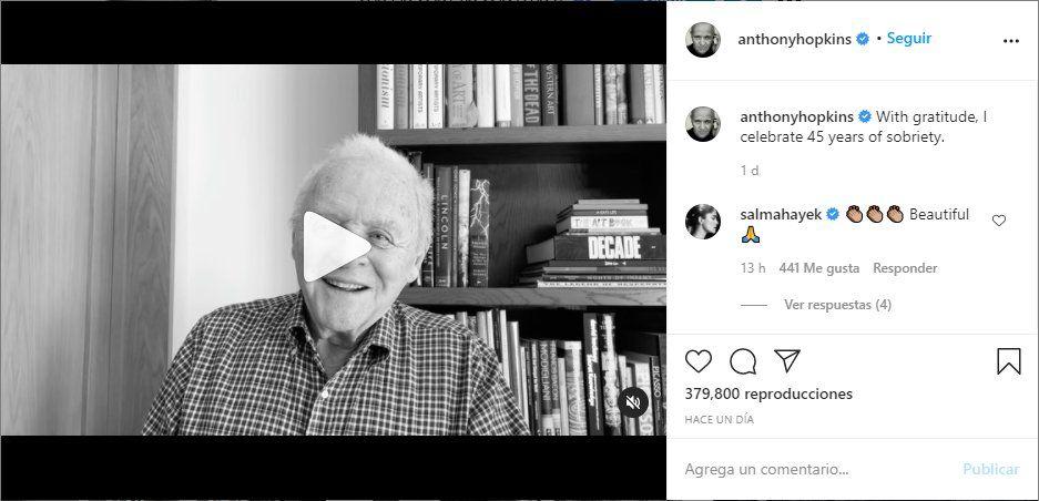 Este es el video que compartió el actor Anthony Hopkins en sus redes sociales