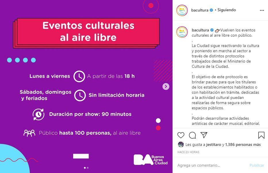 El Gobierno de la ciudad de Buenos Aires usó sus redes para informar del protocolo para la vuelta de los recitales