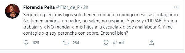 Me contagié porque soy peroncha Flor Peña respondió las críticas