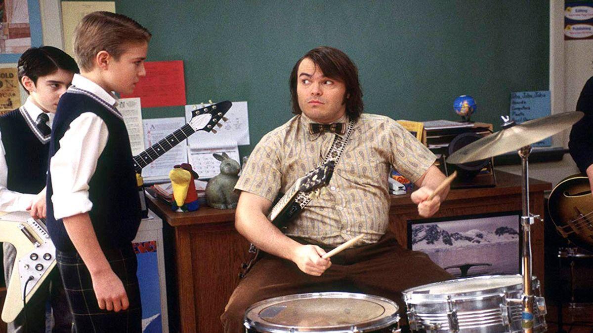 Jack Black junto a Kevin Clark en una escena de Escuela de Rock