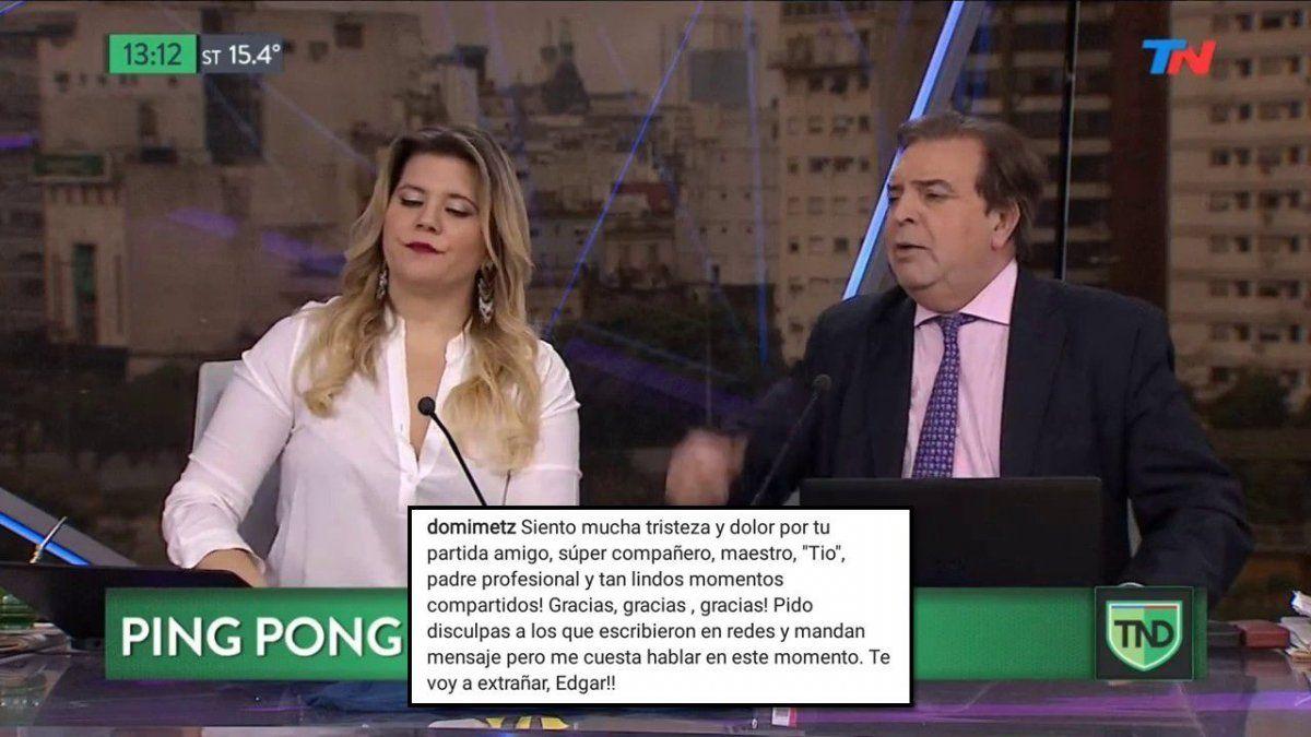 La despedida de la compañera de Edgardo Antoñana, Dominique: Tío, padre profesional, gracias por tantos lindos momentos compartidos