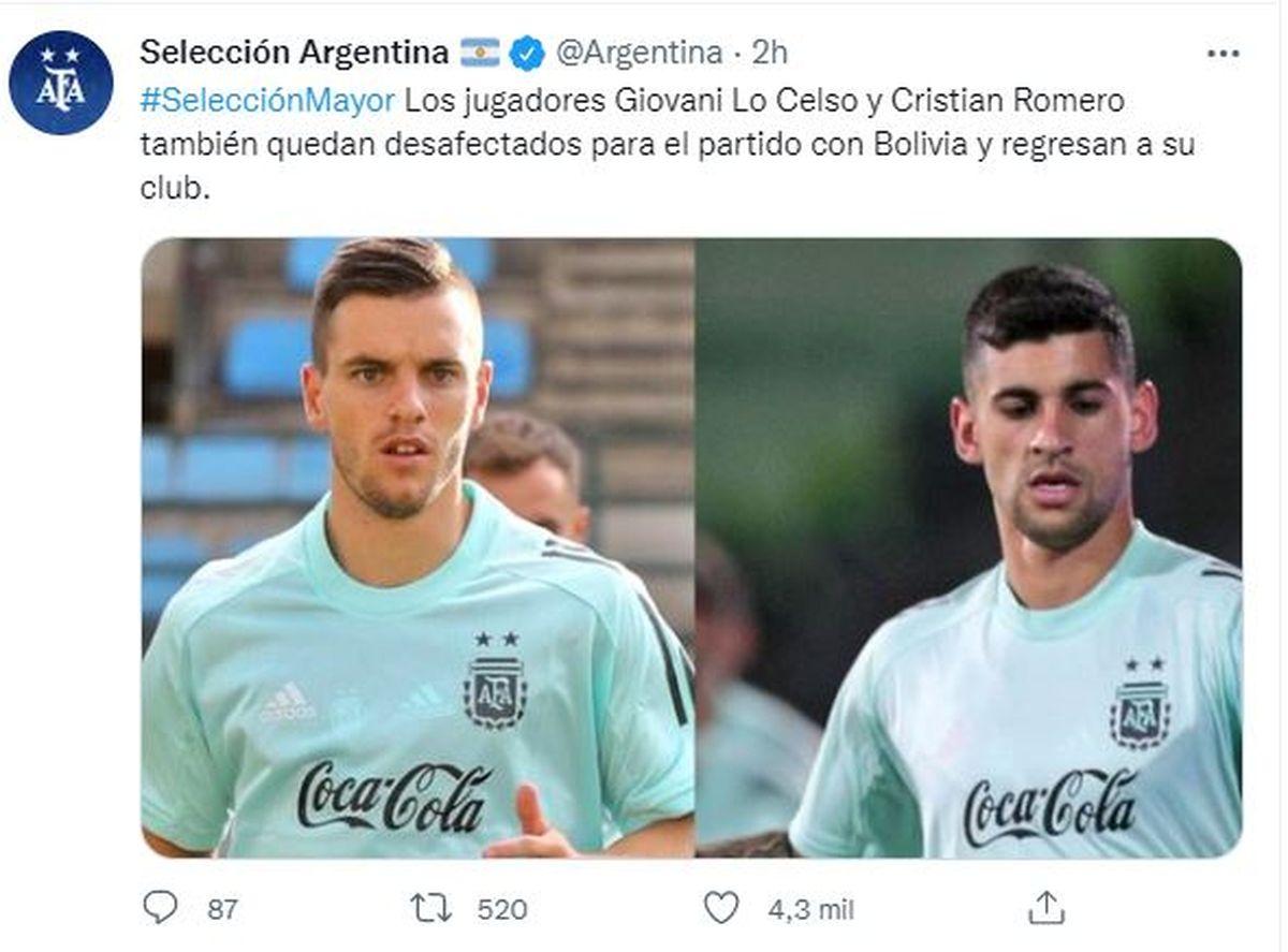Este es el tuit de la Selección Argentina donde informa que Cristian Romero y Giovani Lo Celso dejarán la concentración y se irán a Inglaterra