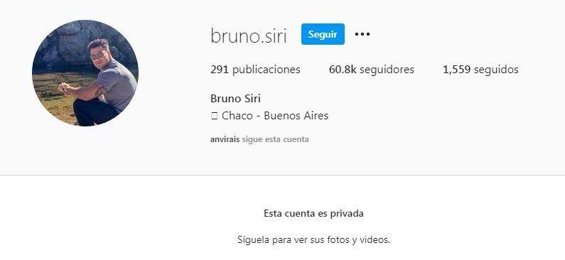 Bruno Siri puso privada su cuenta