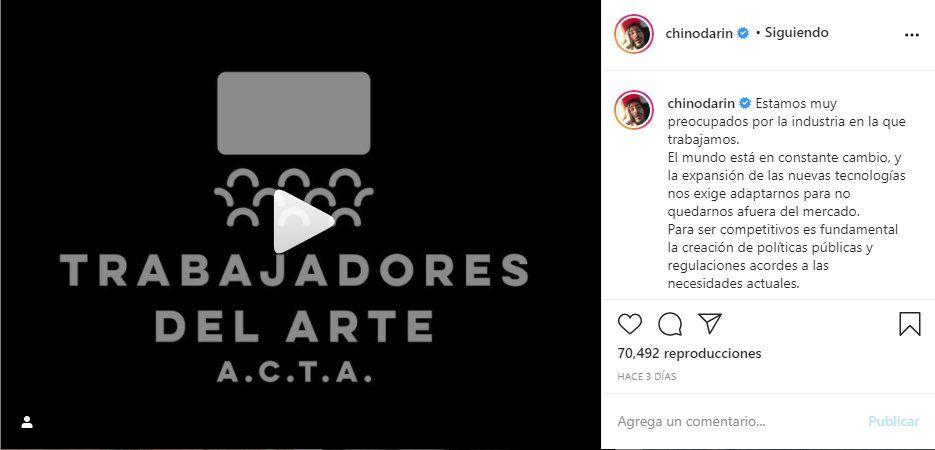 El Chino Darín anunció en sus Instagram su participación en esta nueva Asociación de actores