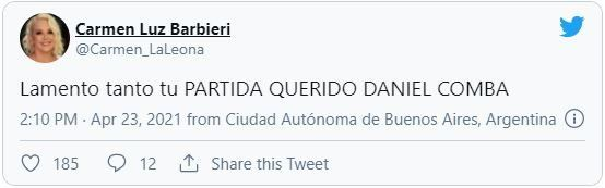 Este es el tuit que Carmen Barbieri dedicó al productor Daniel Comba