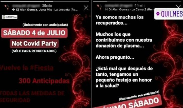 La invitación para la Not Covid Party está circulando por las redes sociales. Sin embargo desde la municipalidad de Quilmes indicaron que no permitirán que se realice el evento