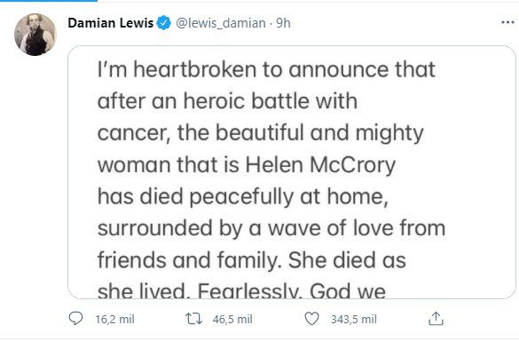 A través de Twitter Damian Lewis informó de la muerte de su esposa
