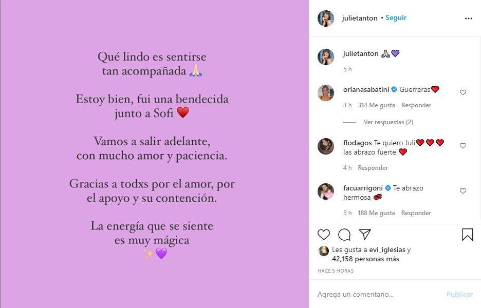 Este es el mensaje que Julieta Antón envió a dos días del ataque