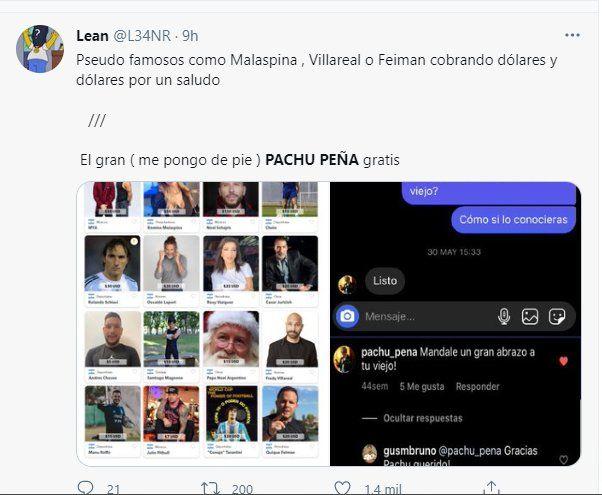 Los mensajes de cariño en las redes para Pachu Peña no se hicieron esperar
