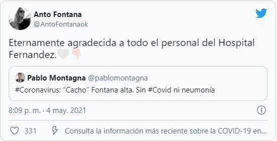 La hija de Cacho Fontana informó que su padre recibió el alta