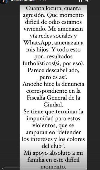 Marcelo Tinelli denunció que recibió amenazas de los hinchas de San Lorenzo
