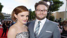 Seth Rogen junto a la actriz Emma Watson