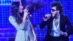 Melina Del Pino y Alex Caniggia durante una gala del Cantando 2020