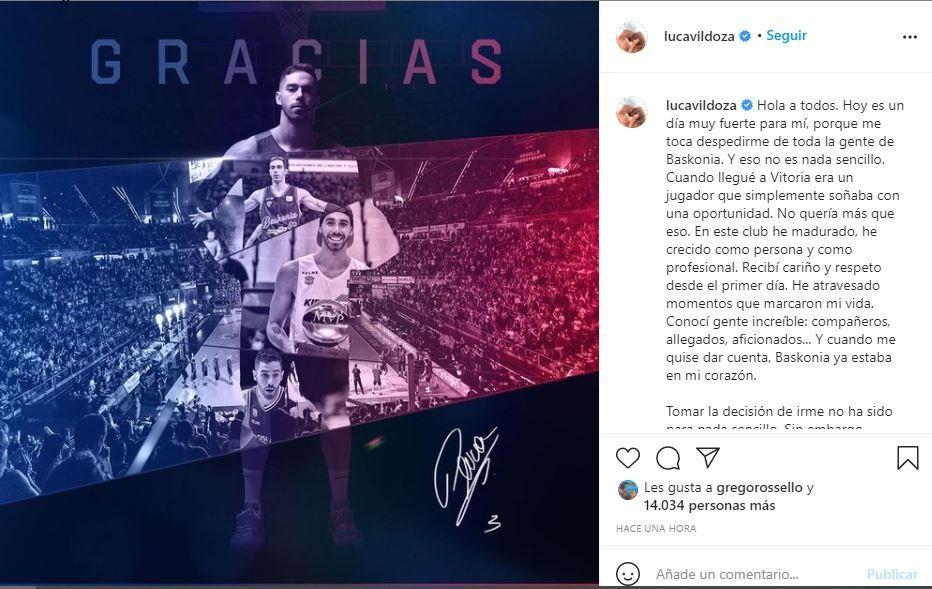 El jugador Luca Vildoza se despidió del Boskonia luego de firmar con New York Knicks de la NBA