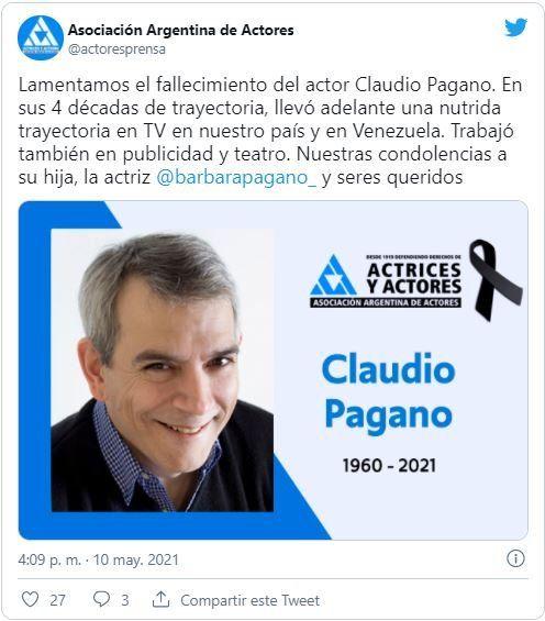 Las Asociacion Actores Argentinos informó de la muerte del actor Claudio Pagano