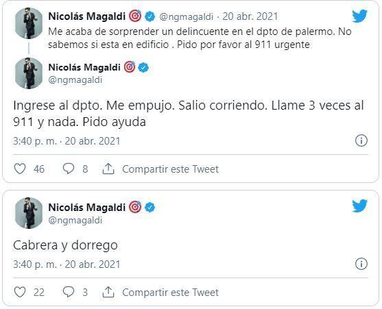 A través de sus redes sociales Nicolás Magaldi relató el robo que ocurría en su departamento