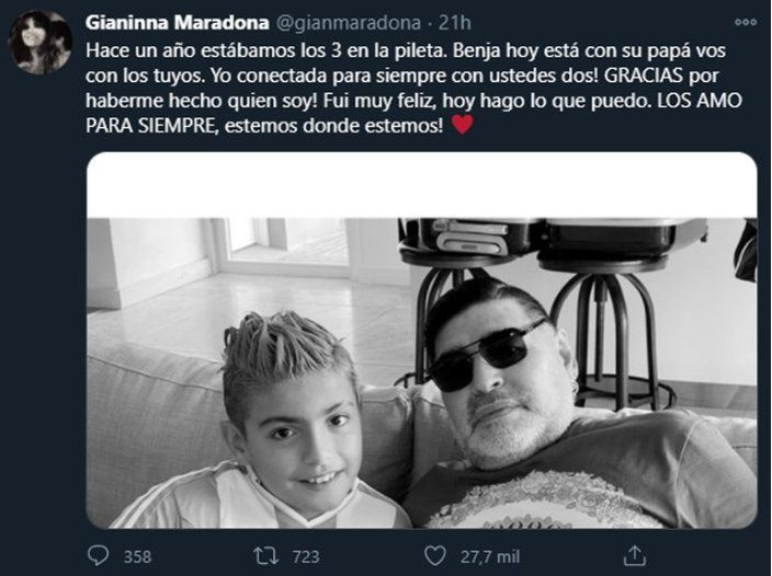 Gianinna Maradona dedicó un posteo a su hijo Benja y a Diego el pasado 31 de Diciembre