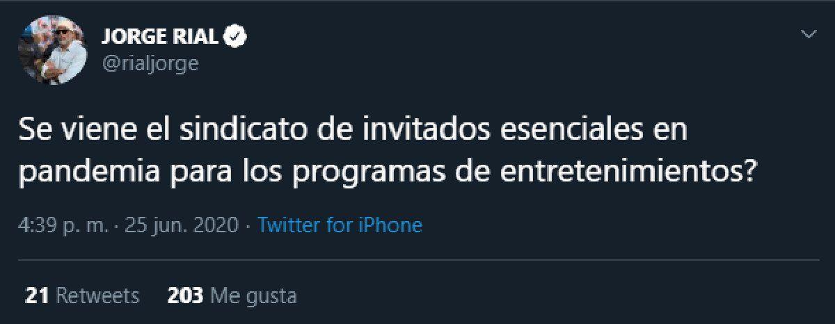 Uno de los tweets compartidos por Jorge Rial en su Twitter