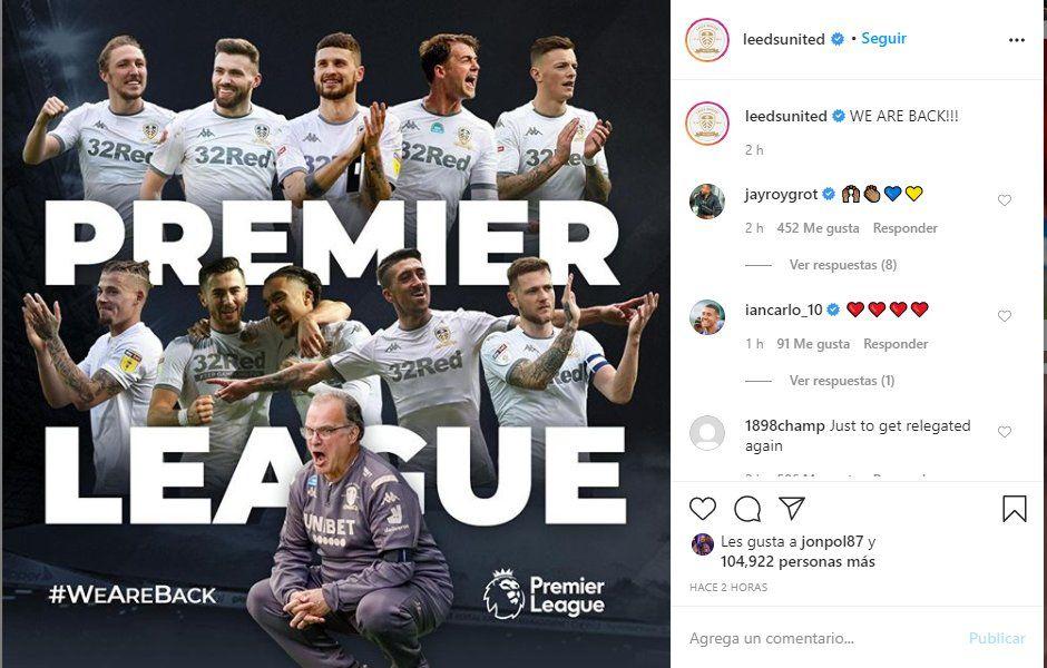 El Leeds United usó sus redes sociales para festejar su regreso a la Premier League