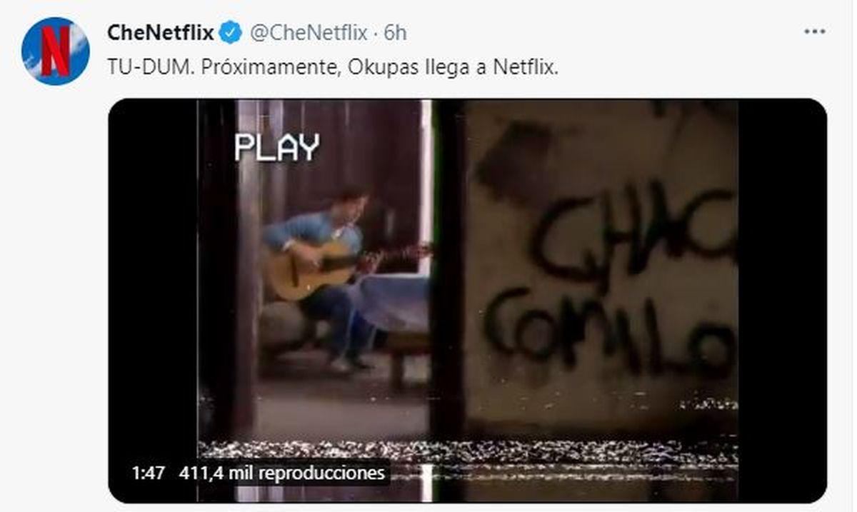 Este es el tuit que envió Netflix para anunciar el estreno de Okupas por su plataforma