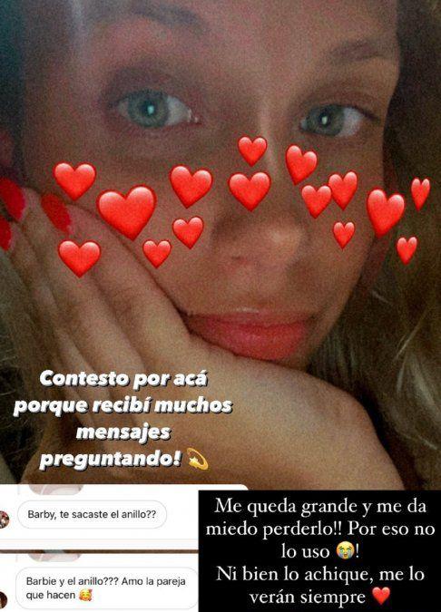 Esta es la captura de pantalla de la historia de Instagram de Barbie Pucheta Vélez