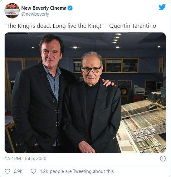 Quentin Tarantino se despidió de Morricone a través de la cuenta Twitter de sus cines New Beverly