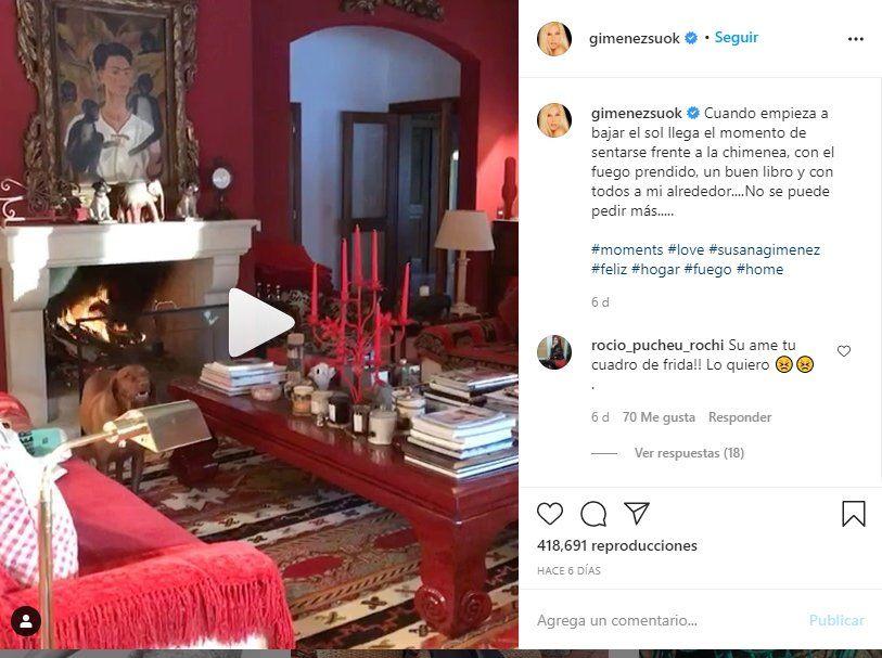 La presentadora Susana Giménez subió un video de su linving
