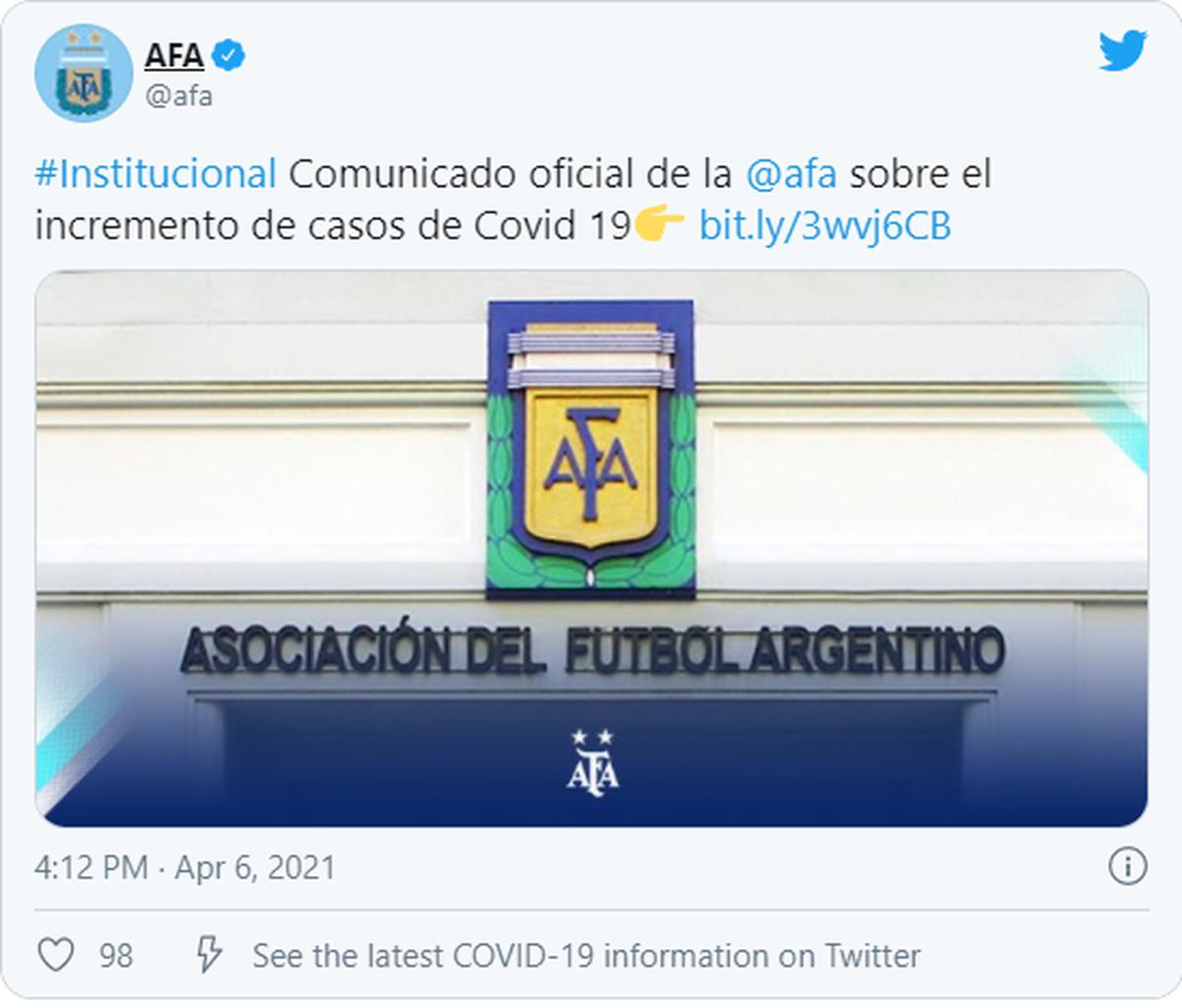 A través de las redes de la AFA se anunció el incremento de casos de Covid en los clubes de Fútbol argentino