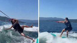 ¡Se cayó! Kim Kardashian está practicando deportes acuáticos