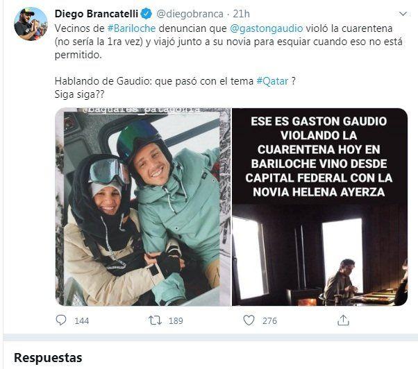 Denuncia de Brancatelli en Twitter