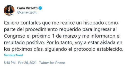 A través de un tuit la Ministra de Salud Carla Vizzotti anunció que tiene coronavirus
