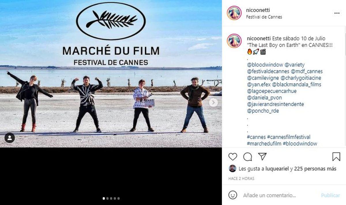 A través de sus redes sociales Nicolás Onetti anunció que estará en Cannes