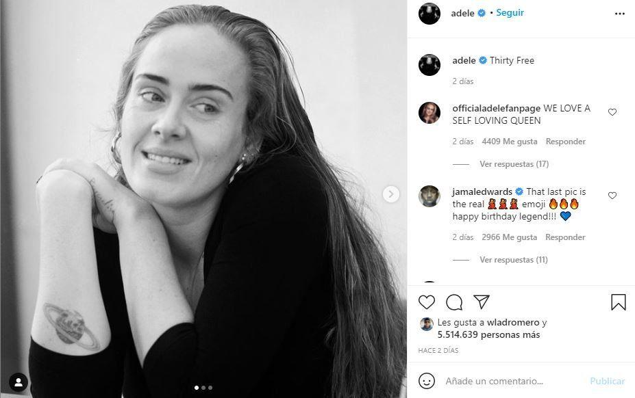 Este es la foto que la cantante Adele posteo con motivo de los 33 años de la artista