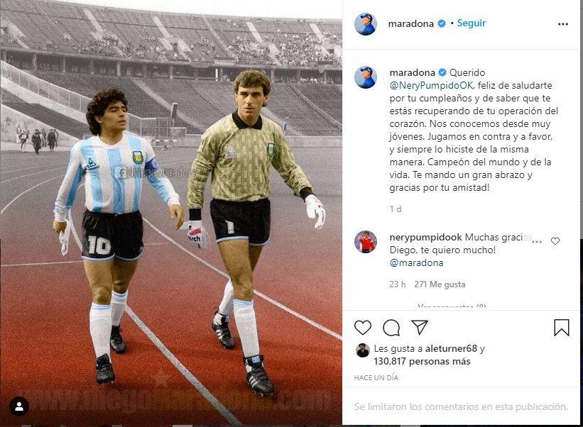 Diego Maradona envío un mensaje a su ex compañero de la selección por su cumpleaños