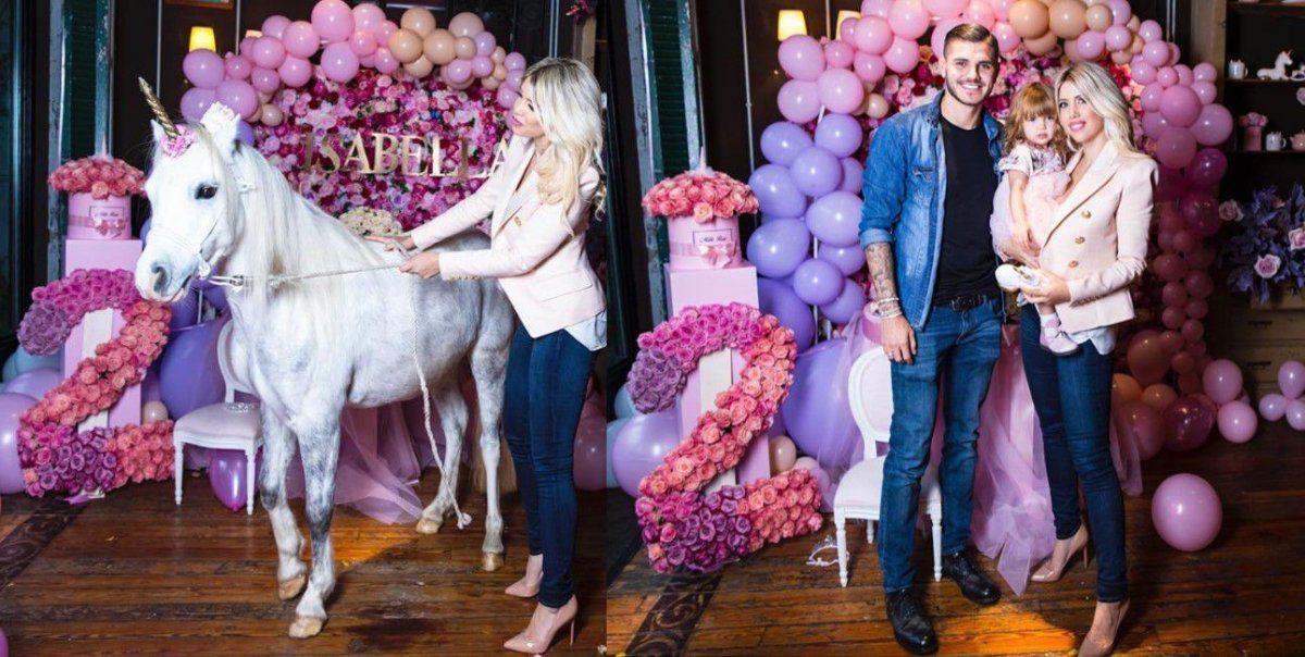 Wanda festejó el cumple de su hija con un caballo real en la decoración y le llovieron las críticas en las redes