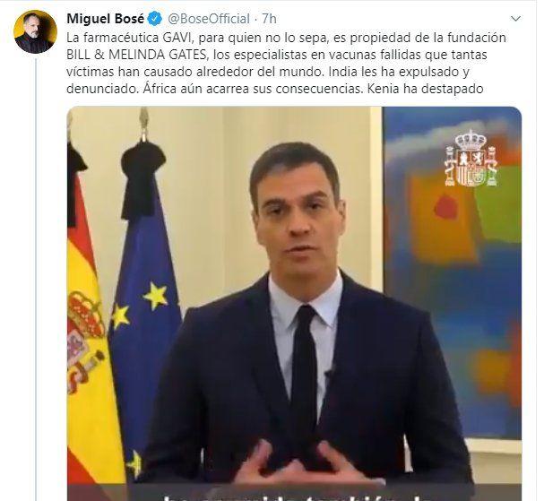 Tuit del cantante Miguel Bosé