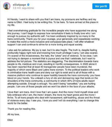 Este es el comunicado que el actor Elliot Page escribió en redes sociales para informar que es trans