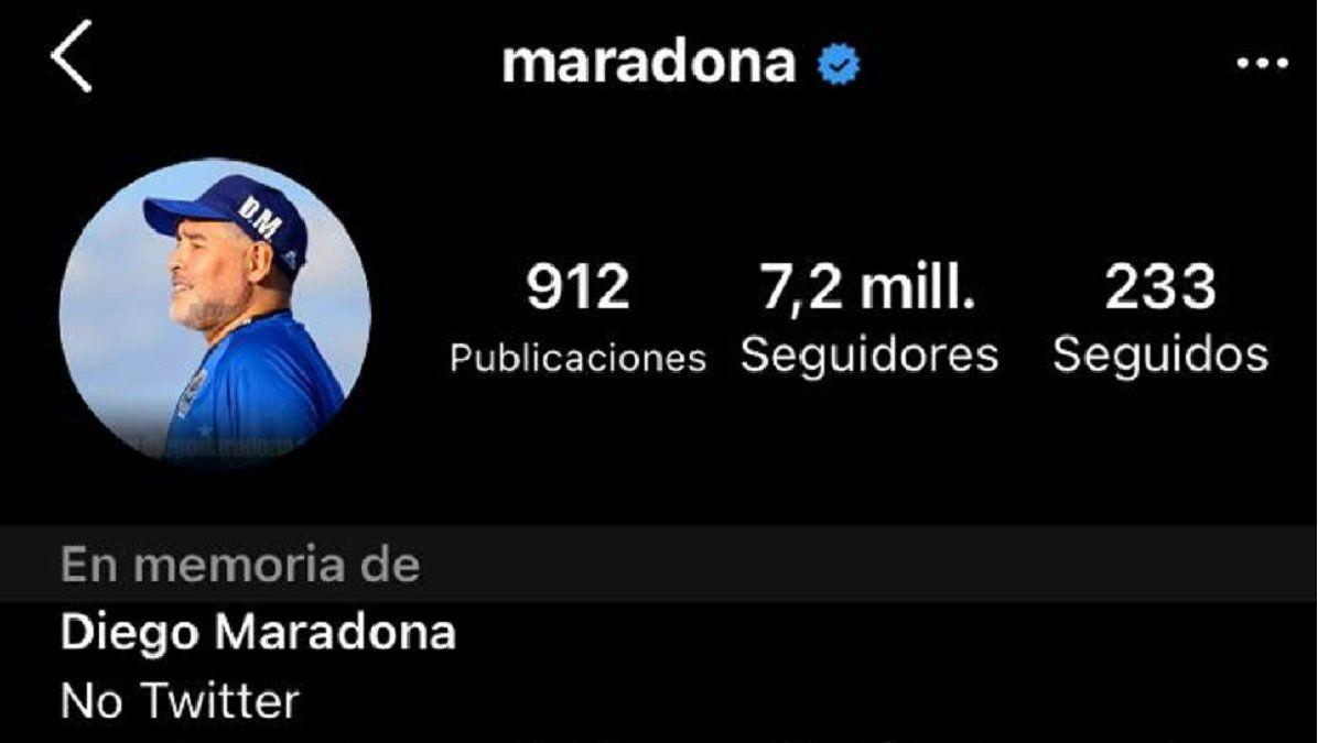 El Instagram de Diego Maradona ahora dice en memoria de