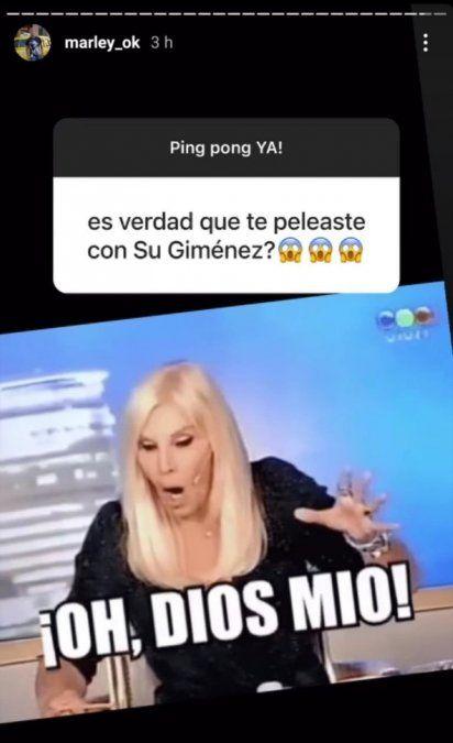 Marley compartió un meme de Susana Giménez