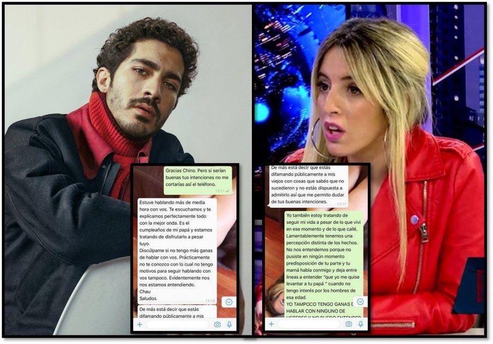 Los chats privados entre Chino Darín y la modelo Romina Seferian, quien acusa al actor de acoso y a su madre de golpearla