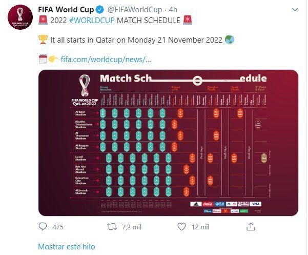 La Fifa publicó el calendario a través de su cuenta oficial en Twitter