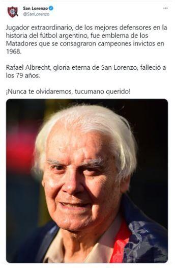 A través de las redes sociales San Lorenzo de Almagro despidió a Rafael Albrecht