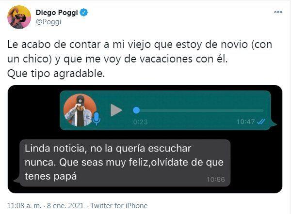 Diego Poggi le contó a su papá que sale con un hombre y publicó el chat en redes
