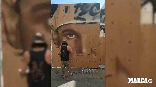 ¡Un arte! Rafa Nadal quedó inmortalizado en un grafiti en Barcelona