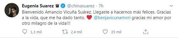 Tuit de La China Sárez