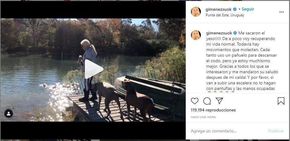 Susana Giménez compartió un video donde se le ve totalmente recuperada